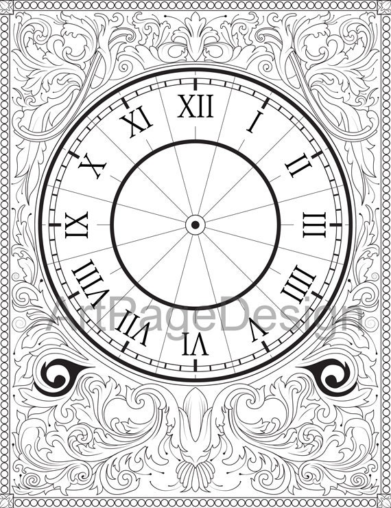 Items Similar To Coloring Pages Adult Printable Anti Stress Oloring Download Clock FaceColoring Page