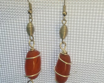 Orange and pearl wire wrapped earrings
