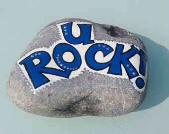 Unique hand-painted Rock paperweight
