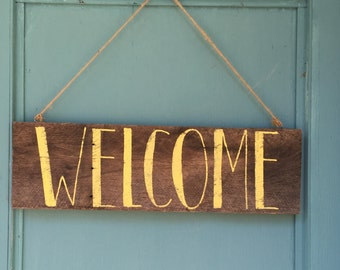 WELCOME Reclaimed Wood Door Hanger