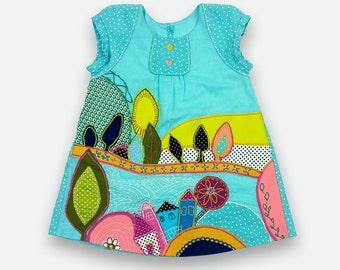 APPLICATION DRESS, flower girl dress, ocean blue dress, hand made dress