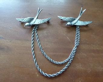 Antique Art Deco Sterling Bird Swallow Sweater Pins
