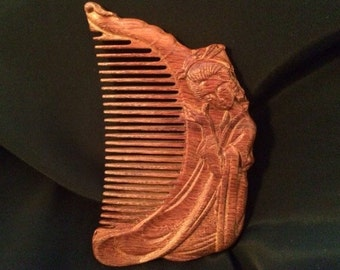 """Rosewood Handcarved Comb """"Asian Beauty"""""""