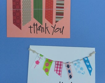 Greeting Card, Handmade, Cards, Thank You, Blank Inside Of Card, Thank You Note Card, Ribbon Card