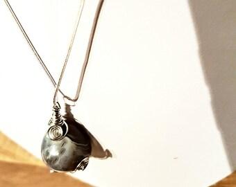 Handmade handwrapped Botswana agate pendant necklace