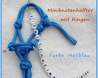 Miniature node Halter (rope handle) with the name of your horse/pony