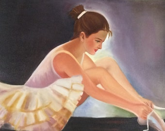 ballerina oil painting girl portrait