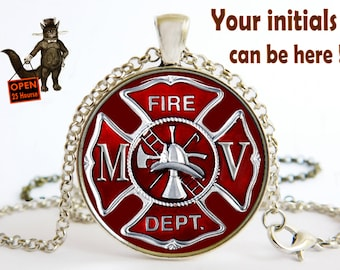 Fire Dept Initials FD pendant necklace jewelry, Firefighter, Fireman Gift , Gift for Coworker, He and she gift, Art pendant necklace Jewelry