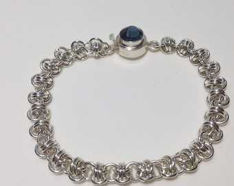 chainmaille bracelet, barrel weave, silver filled, blue crystal clasp in silver