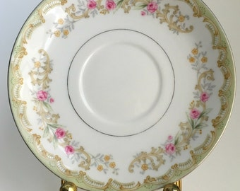 Green saucer, Kenwood made in Japan, small plate,replacement,green with pink roses,set of 2,B1
