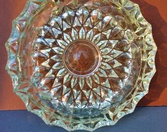Vintage thick glass ashtray/1980s glass ashtray/Round ashtray/Home decor/