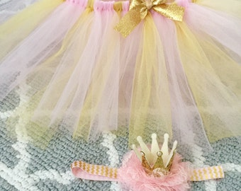 Gold and pink Princess tutu outfit with gold and pink crown headband