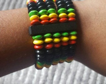 Red gold green and black wooden beaded bracelet