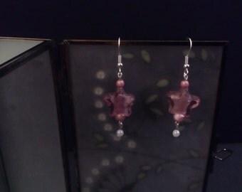 Fabulous pink heart glass drop earrings