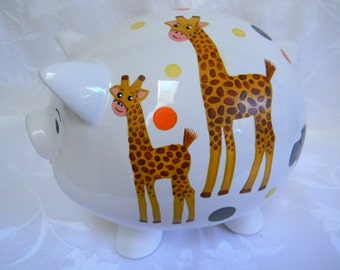 Personalized hand painted piggy banks, piggy banks for kids, money bank, ceramic piggy banks, large piggy banks, coin bank