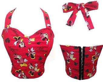 Minnie Mouse / Disney Print Rockabilly/ Pinup Halter Top XS- XL