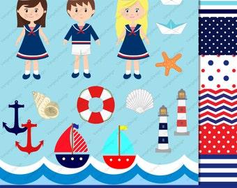 16 Clip art and 6 digital paper set - Nautical- Sailor