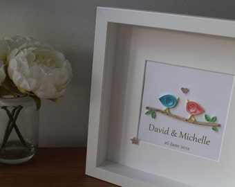Personalised handmade quilled lovebirds on a driftwood branch