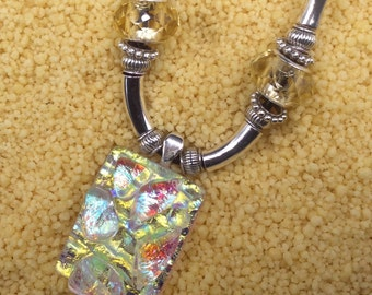 Dichroic Champagne Glass Necklace
