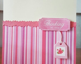Thinking of you greeting card,  unique gift for best friend, sister, daughter, just because, missing you, blank inside, write your message