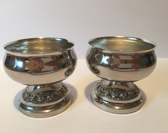 Matching Pair of Vintage Silver Plated Vases, Rose Bowl, Ornaments, made in England By Ianthe