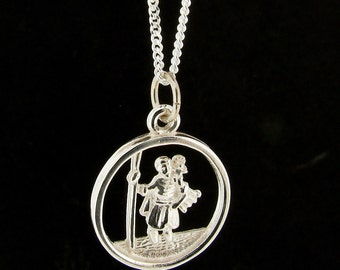 Sterling Silver 15mm Round St. Christopher Pendant & Chain