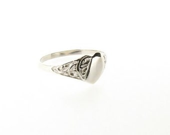 Sterling Silver Half Engraved Heart Signet Ring - UK Sizes J - P - US Sizes 4.5 - 7.5