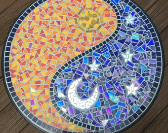 Yin Yang Day Night Mosaic Bistro Table With Black Grout