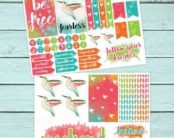 Summer Planner Sticker, Free, Hummingbird, Fearless, Believe, Follow Your Dreams, Take Flight, Happy Planner, Erin Condren, Colorful, Waterc