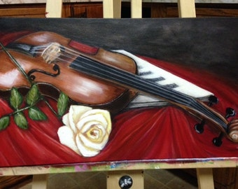 Violin and rose/ Abstract/Music/ Gift/Can Team