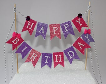 HAPPY BIRTHDAY bunting cake topper banner, pink and purple glitter cake topper, pink glitter, purple glitter, pink bow cake topper