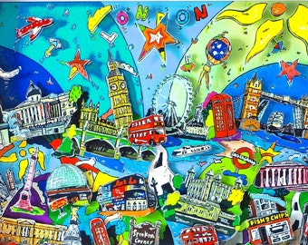 London 3D Pop Art skyline cityscape shadow box print Big Ben Tower Bridge