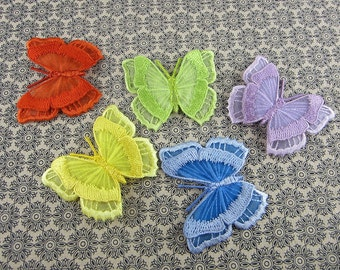 Butterfly Embroidery Patches Embroidered Animal Appliques, Butterfly with Iron on Backing