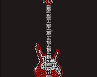 Music Guitar Rhinestone Applique