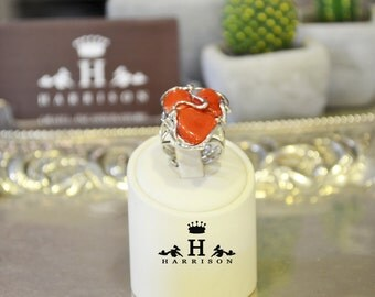 Handmade ring with red coral in the Mediterranean