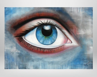 Eye, original oil paintings, blue