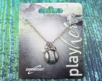 Customizable Silver Softball Third Base Necklace - Personalize with Jersey Number, Heart Charm, or Letter Charm! Great Softball Gift!
