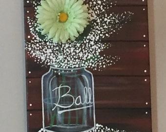 Baby's Breath In A Ball Jar-Acrylic Original