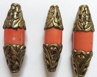 Large Nepalese beads, large  nepalese pendant, large nepalese brass and coral beads, brass and coral beads, large coral beads