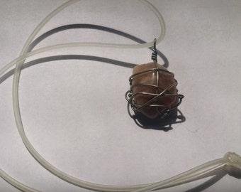 Carnelian wire-wrapped pendant