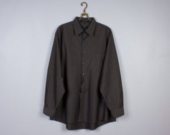 DKNY Shirt Vintage Shirt Gray Shirt Cotton Shirt Classic Men's Shirt Size Extra Large