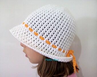 Crochet summer hat for girls, white crochet hat, kids summer accessories, white cotton hat, wide brim hat.
