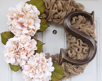 Burlap Wreath - Hydrangeas with Large Monogram