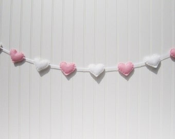 Heart banner / garland / bunting - pink and white - Nursery decoration