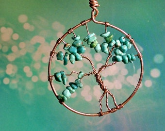 Silver & Turquoise Tree of Life Pendant/Sun Catcher