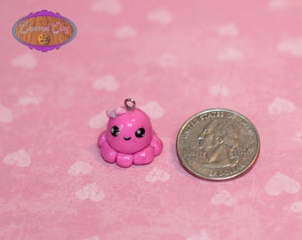 Pink Octopus Clay Charm