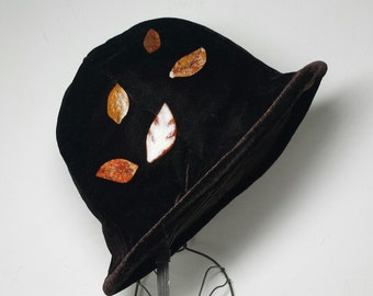 Velvet Cloche with Fused Glass Leaves Oversized Autumn Leaves Hat Brown Velvet