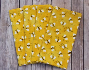 Set of Four, Six or Eight Honey Bees Napkins, Cotton Napkins, Cloth Napkins, Reusable Napkins, Mitered Edges