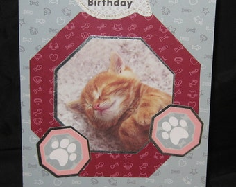 Handmade Happy Birthday Card With Kitten Free Shipping
