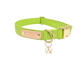 The O+A All-Leather Collar // Lime